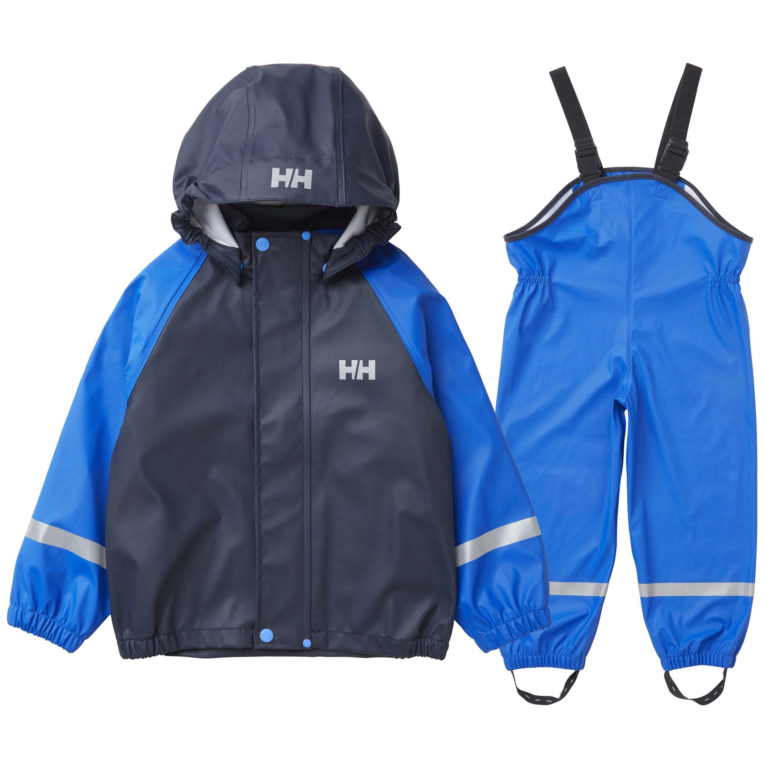 North Sea Blue 7 Yrs Helly Hansen Kinder K Bergen PU Wasserdicht Jacke Und Hose Set
